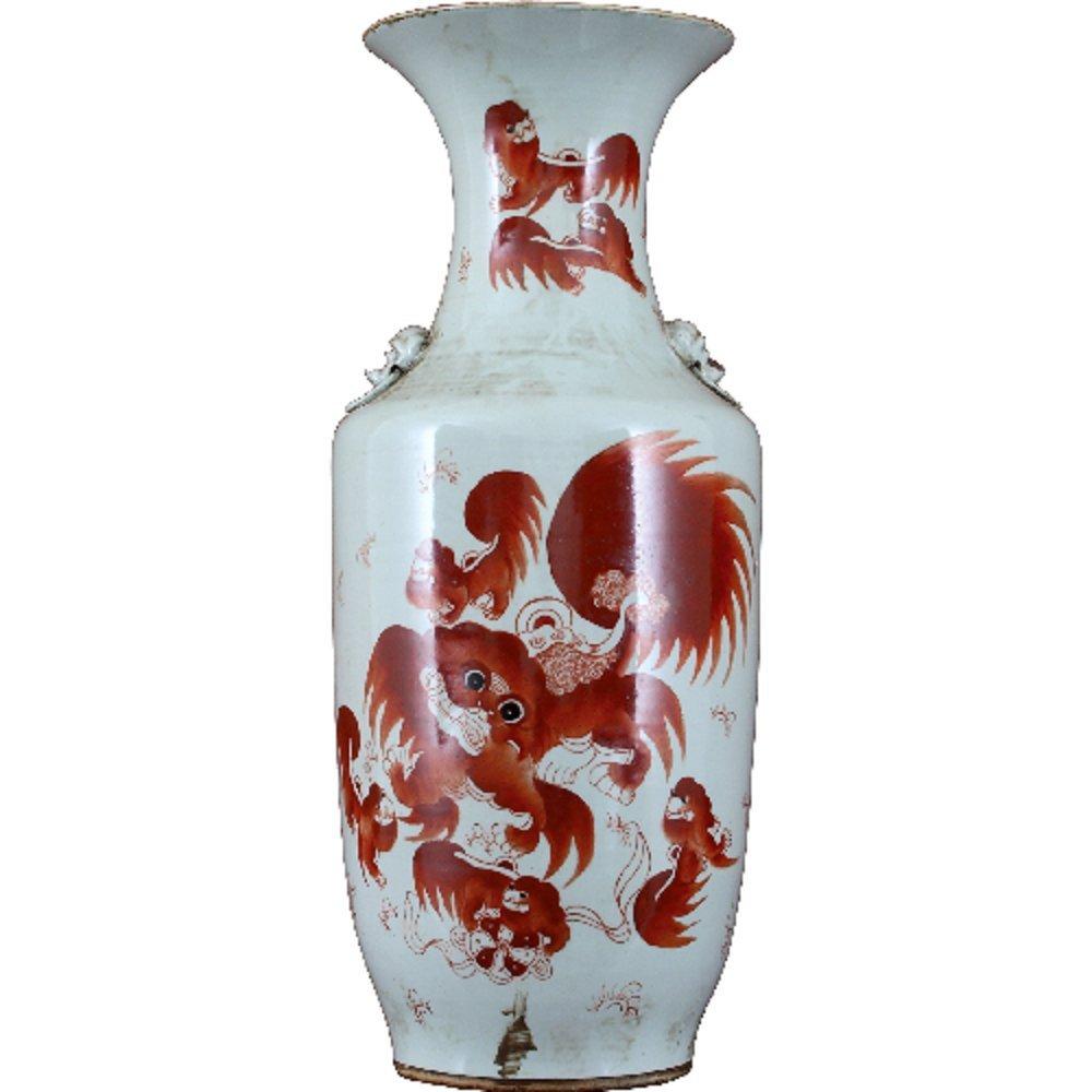 Home decor. White and Coral Vase. Dimension: 10.25 x 10.25 x 23. Pattern: Color Classic.