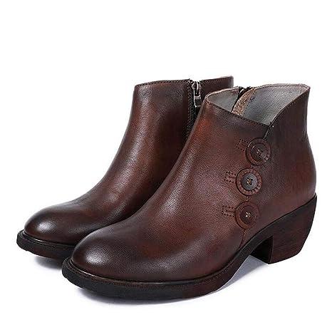 Zapatos de mujer, botines de tacón grueso de piel de otoño / invierno nuevos,