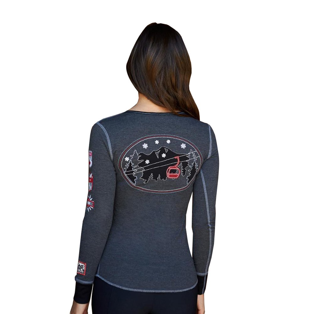 Alp-n-Rock Women's Gondola Canada Henley Shirt (Heather Black,M) by Alp-n-Rock (Image #4)