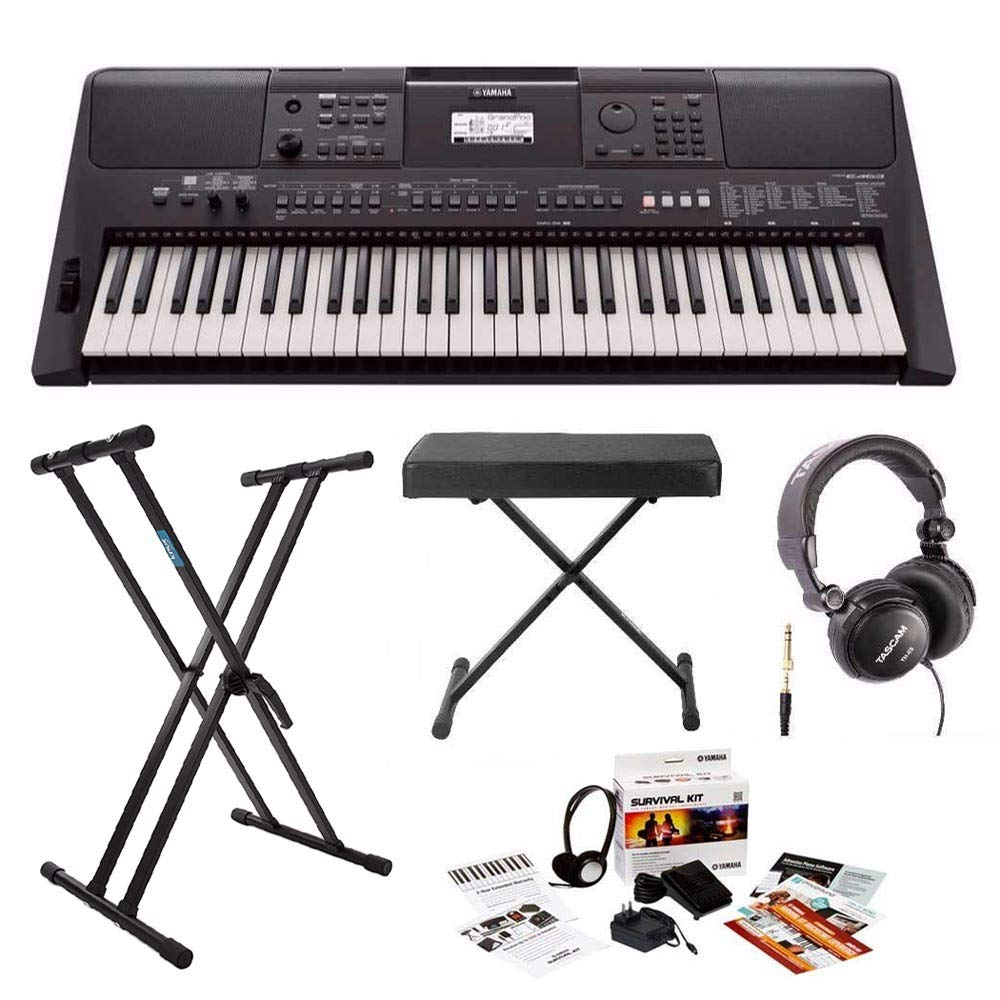 Yamaha PSRE463 61-Key Portable Keyboard with Knox Stand, Bench, Headphones and Survival Kit (includes Power Adapter) by YAMAHA