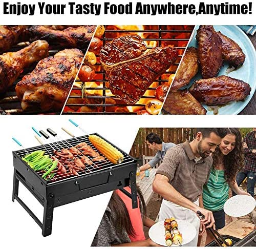 BUTTERFLYSILK Pliable Charcoal Grill Portatif Barbecue Grill Léger et Facile à Assembler BBQ Grill pour Camping Cooking Picnic Backpacking Garden Party Festival