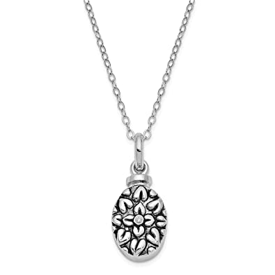 Holds 2 Photos 925 Silver Rhodium-plate God Has You in His Arms w//Diamond Ash Holder Heart Locket
