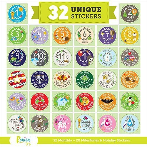 Massive Pack of 32 Baby Stickers, 12 Baby Monthly Stickers, 20 Popular Milestones Baby Stickers, Record Your Baby's Growth, Holidays And Special Firsts, Unique Baby Gifts- Holiday -