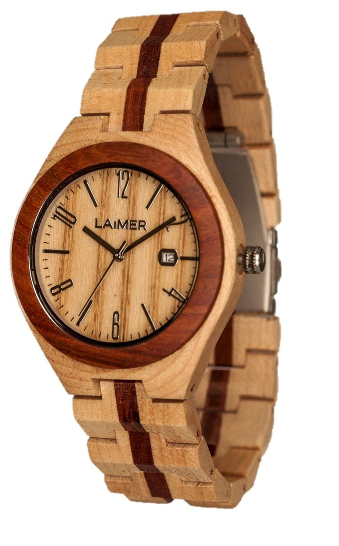 Men's Wooden Watch NICO - Wrist Watch made of Maple and Hackberry Wood Italian Design, Nature, Lifestyle