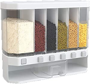 WAQIA Wall Mounted Rice Dispenser Food Dispenser 26LB Rice Bucket, 6-Grid Rice Storage Dry Food Dispenser Grain Storage Dried Fruit Food Storage Box