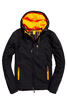 2d51f8723088 Superdry Jacke Herren Hooded WINDTREKKER Black Emergency Orange  Amazon.de   Bekleidung