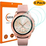EZCO (5-Pack) Compatible Samsung Galaxy Watch 42mm 46mm Screen Protector, Waterproof Tempered Glass Screen Protector Cover Compatible Galaxy Smart Watch [Scratch Resist] [99.9% Clear HD] [Anti-Bubble]