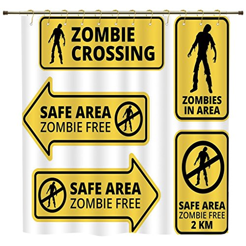 iPrint Shower Curtain,Zombie Decor,Safe Area Zombie Free Safe Protection Zone Caution Sign Horror War Design,Yellow Black,Polyester Shower Curtains Bathroom Decor Sets with ()