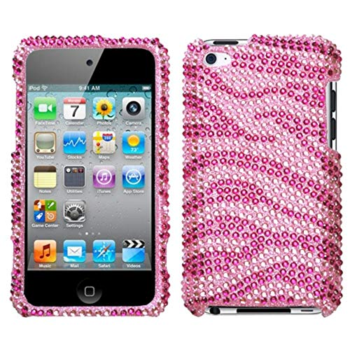 Insten Zebra Rhinestone Diamond Bling Hard Snap-in Case Cover Compatible with Apple iPod Touch 4th Gen, Pink/Hot Pink