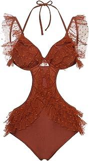 Xiaoxiaozhang Costume da Bagno in Pizzo Color Caramello, Unito alla Schiena, Che Copre la Pancia e Mostra Il Costume da Bagno a Bolle bollente, M