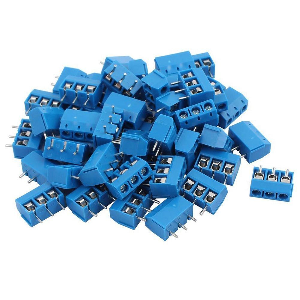 TOOGOO 50 Stueck blau ABS KF301-3P 5.08mm 3 Pin Anschlussklemme Schraubanschluss Stecker