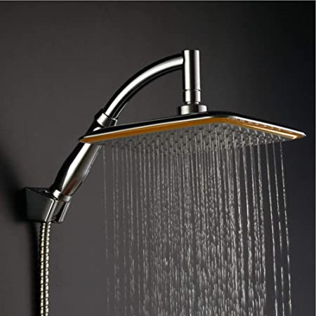 KE1AIP 360° Swivel Joint 9 Inch Square Rainfall Overhead Shower Head Ionic  Filtration High Pressure