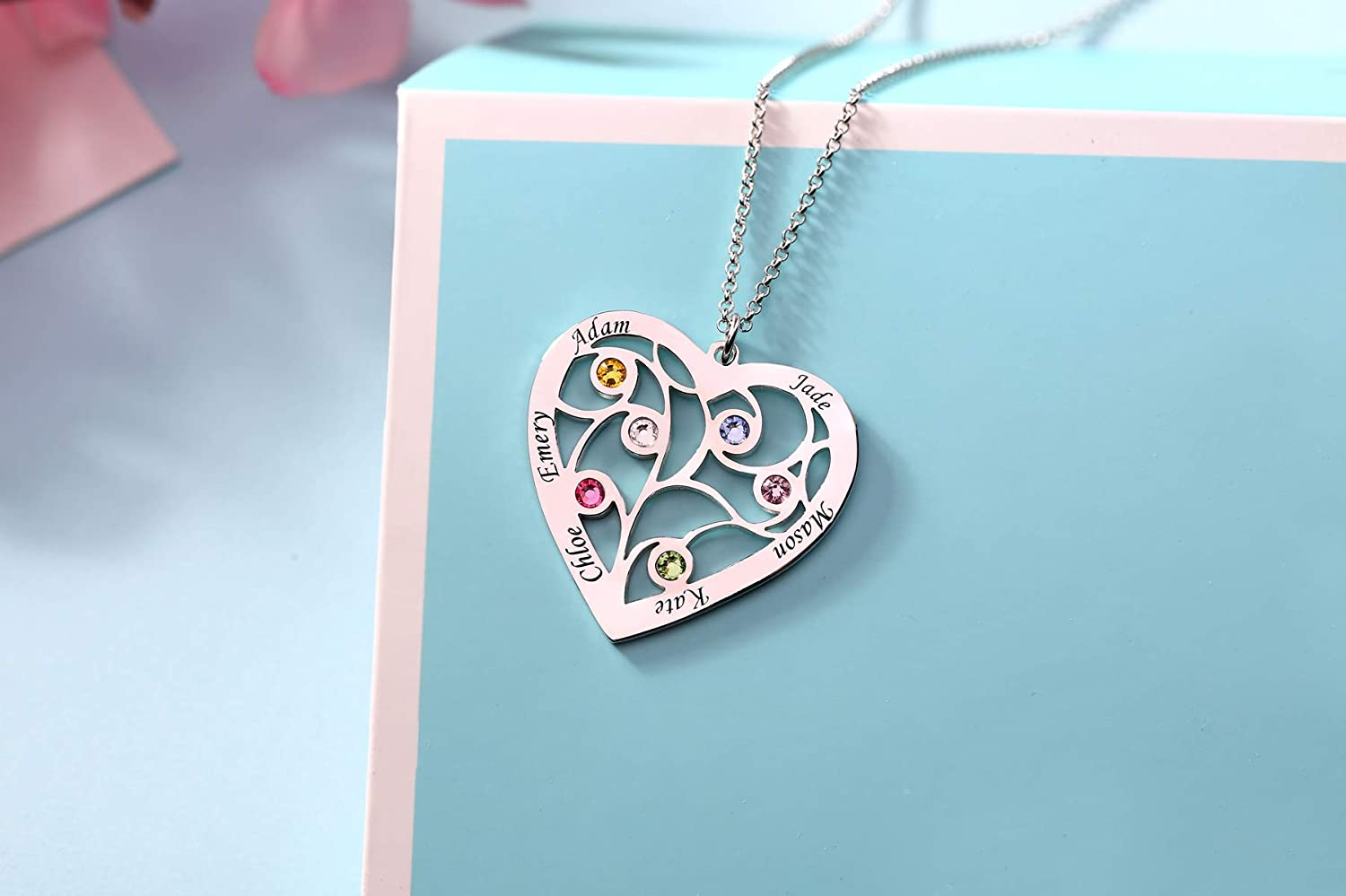 Getname Necklace Heart Famliy Tree of Life Name Necklace Engraved with 6 Names/& 6 Birthstones for Mother