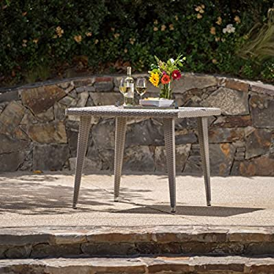 Andrea Outdoor Wicker 36 Inch Dining Table with Aluminum Frame (Chateau Grey) - Get ready to enjoy the fine summer weather with friends and family Manufactured in China Assembly required but completely worth it - patio-tables, patio-furniture, patio - 61ChryeWEGL. SS400  -