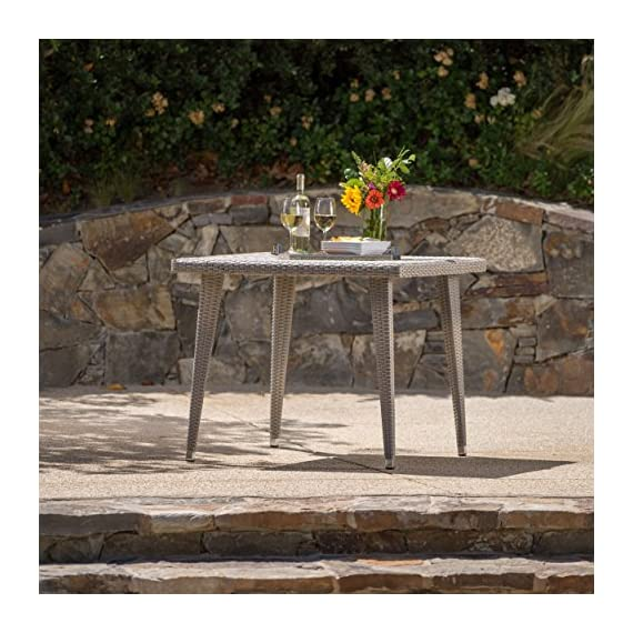Andrea Outdoor Wicker 36 Inch Dining Table with Aluminum Frame (Chateau Grey) - Get ready to enjoy the fine summer weather with friends and family Manufactured in China Assembly required but completely worth it - patio-tables, patio-furniture, patio - 61ChryeWEGL. SS570  -