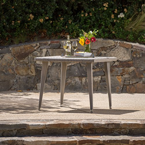 Andrea Outdoor Wicker 36 Inch Dining Table with Aluminum Frame (Chateau Grey)