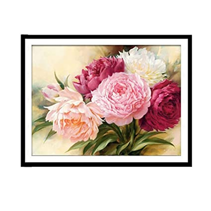 Usdepant Diy 5d Diamond Painting Embroidery Peony Flower Cross Stitch For Home Bedroom Decor