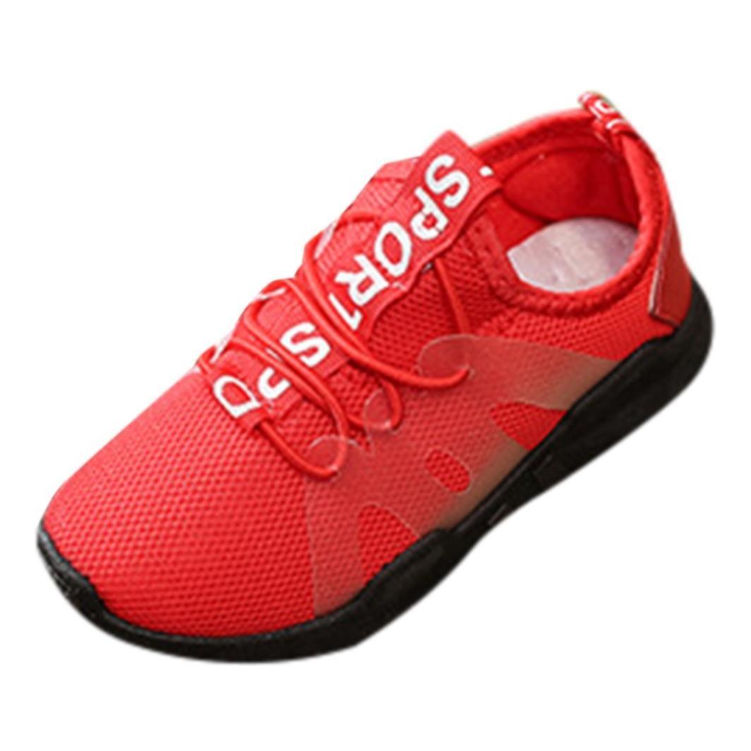 QinMM Kinder Schuhe Kind Jungen Mädchen Brief Sport Lauf Stil Mesh Sneaker Freizeitschuhe Sommer Laufschuhe Rot Schwarz 25-36