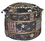 Lalhaveli Patchwork Mirror Work Comfortable Cotton Ottoman Cover 14 X 22 X 22 Inches