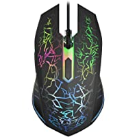 VersionTECH Wired RGB Gaming Mouse, Ergonomic USB Optical Mouse Mice with 7 Colors LED Backlight, 4 DPI Settings Up to 2400 DPI, 6 Programmed Buttons for Mac Laptop PC Win Computer Games & Work Black