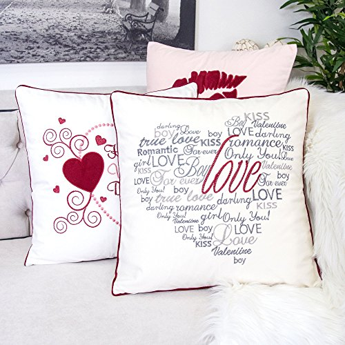 Homey Cozy Valentine's Day Embroidery Ivory Velvet Throw Pillow Cover,Heart Shape Gray Letter Forever Love with Red Piping Fuzzy Cozy Home Decoration Gift Idea 20 x 20,Cover Only