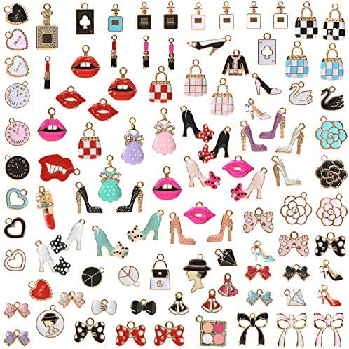 100pcs Colorful Enamel Charms for Jewelry Making High Heel Lipstick Bag Handbag Dress Designer Charms for Bracelet Making Bangle Earrings Necklace Anklet Keychain Charms