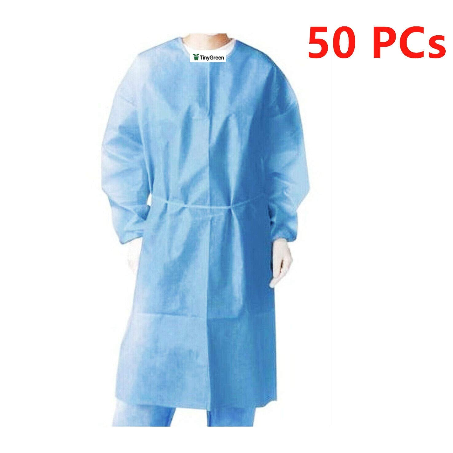 Isolation Gowns Knit Cuff One Size Fits Non-Woven, Latex Free, Splash Resistant, All Dental Medical Disposable 50 Pieces/1 Box Blue Color