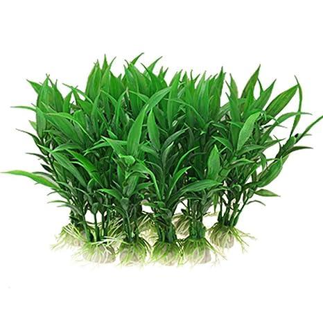 FiedFikt 10 Piezas de Plantas Artificiales de plástico para Acuario, Accesorios para Acuario, Color