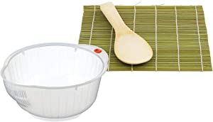 HIC Japanese Rice Washing Bowl and Sushi Mat with Rice Paddle, 3-Piece Set
