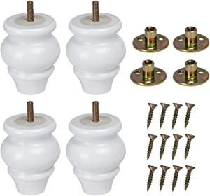 Set of 4 Solid Wood Bun Furniture Legs 3.54inches Tall White Finished Modern M8 Replacement Furniture Feet Sofa Legs with Pre-Drilled 5/16 Inch Bolt & Mounting Plate & Screws for Couch Sofa Armchair