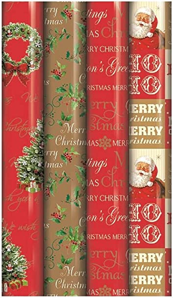 4 X Rolls Of Christmas Gift Wrap Wrapping Paper 5m X 69cm Gold Red Traditional Amazon Co Uk Kitchen Home