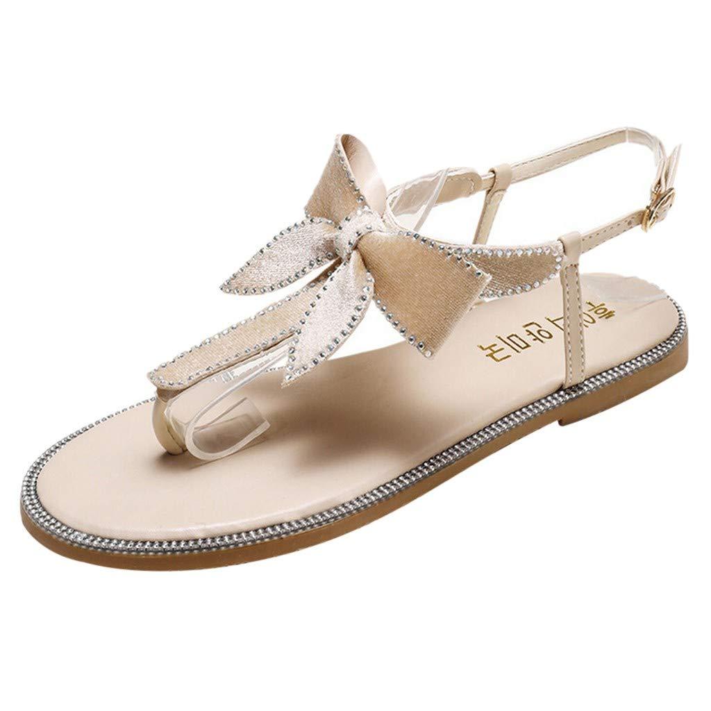 YKARITIANNA Women's Summer Casual Rhinestones Bow Thongs Fashion Beach Slippers Sandals Beige by YKARITIANNA Shoes