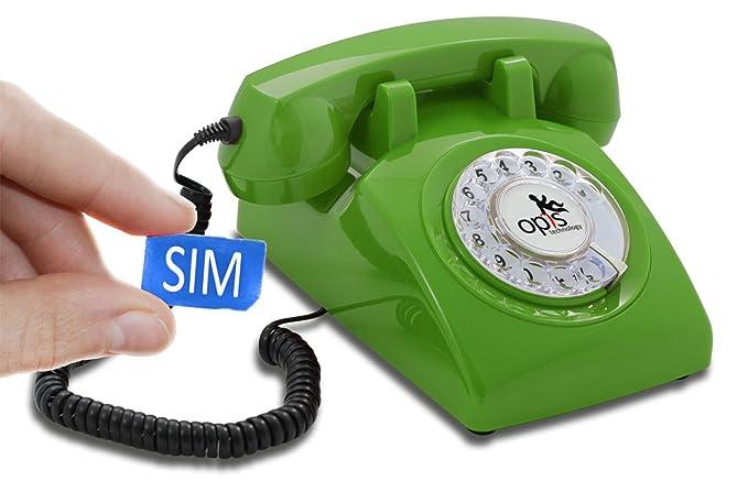 OPIS 60s Mobile: móvil de sobremesa/teléfono Fijo con sim/teléfono móvil para Mayores/teléfono Retro móvil con Disco de marcar (Verde)