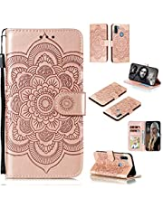 Cfrau Wallet Case with Black Stylus for Samsung Galaxy A11,Beautiful Mandala Sunflower Embossed PU Leather Magnetic Flip Stand Soft Silicone Card Slots Case with Wrist Strap - Rose Gold