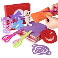 Mumoo Bear 200 Pcs Kids Paper Cutting Set Paper Activity Toys with 2 Safe Scissors Educational Toys for Kids Gift Idea