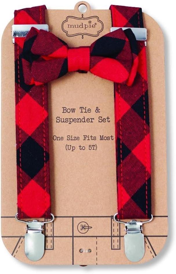 Mud Pie Boys Alpine Village Collection Buffalo Check Bow Tie /& Suspender Set