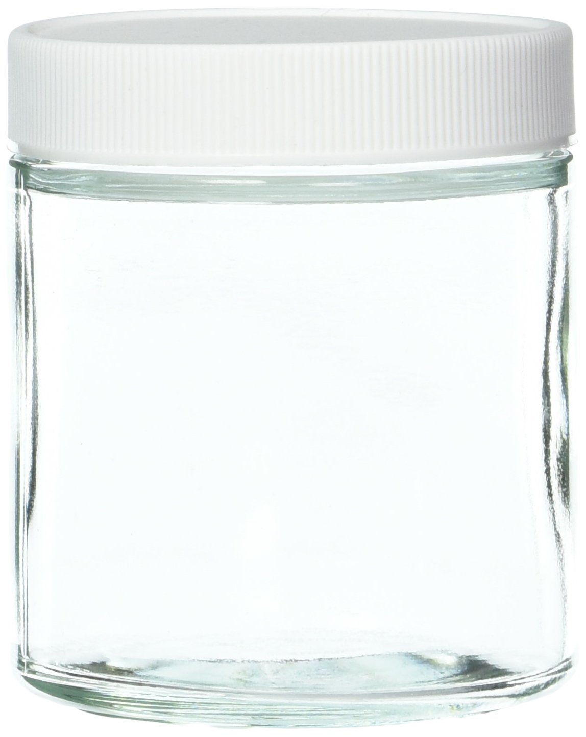 JG Finneran 9-181-2 Clear Borosilicate Glass Precleaned Short Straight Sided Wide Mouth Jar with White Polypropylene Closure and 0.015'' PTFE Lined, 58-400mm Cap Size, 125mL Capacity (Pack of 24)