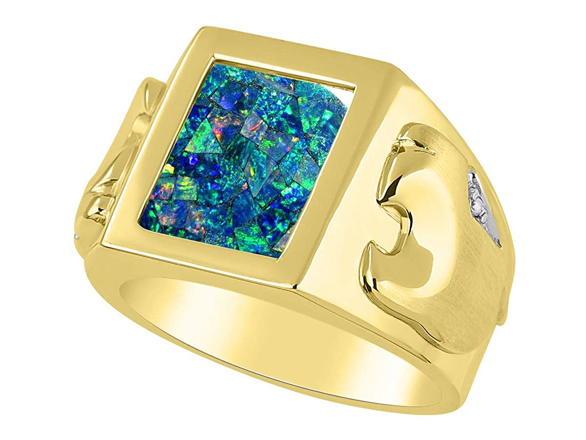 or Tiger Eye Set in Yellow Gold Plated Silver .925 Mosaic Opal RYLOS Designer Ring With Diamonds and Onyx