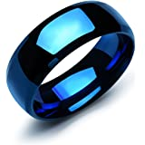 HooAMI Blue Stainless Steel Smooth Brief Couple Ring