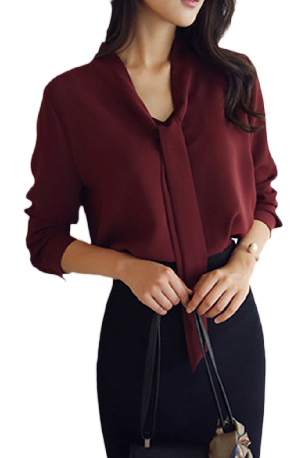 Women's T Shirt Knot Front Long Sleeve Patchwork Single Breasted Office Top Blouse CAACRRJ003