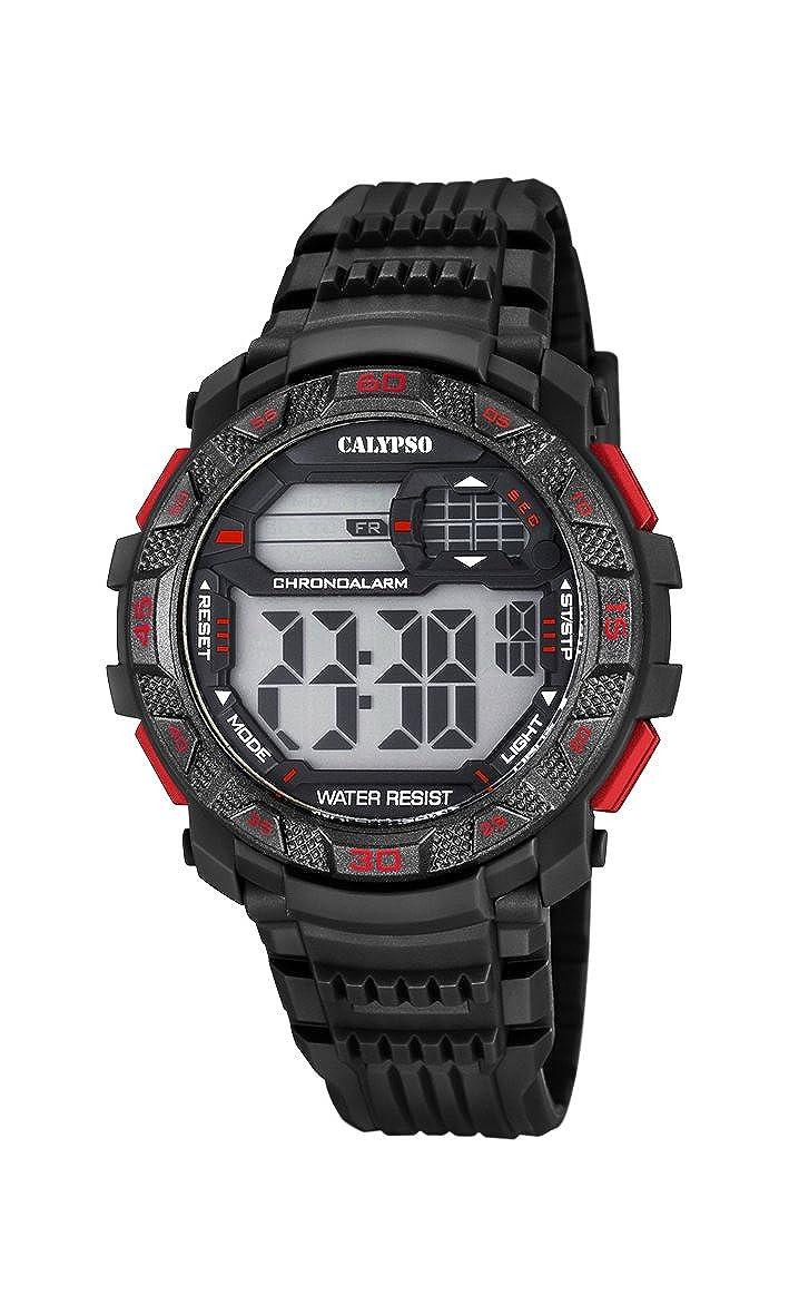 Calypso Hombre Reloj Digital con Pantalla LCD Pantalla Digital Dial y Correa de plástico en Color Negro k5702/5