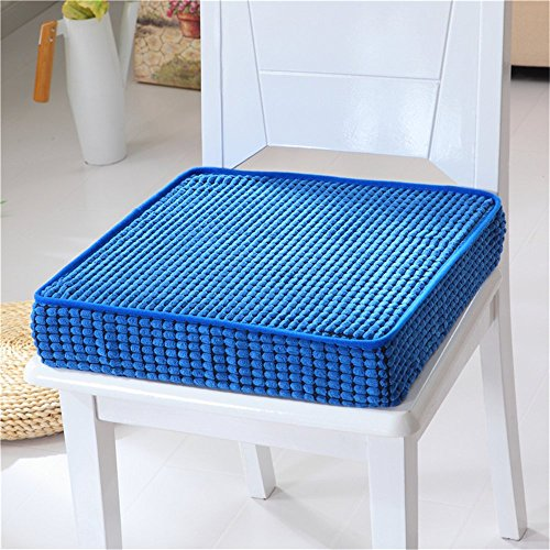 APSOONSELL Thicken Sponge Seat Cushion for Dining Kitchen Chair Pad Corduroy Foam Chair Cushion Seat Floor Pillow Blue, 18 x 18