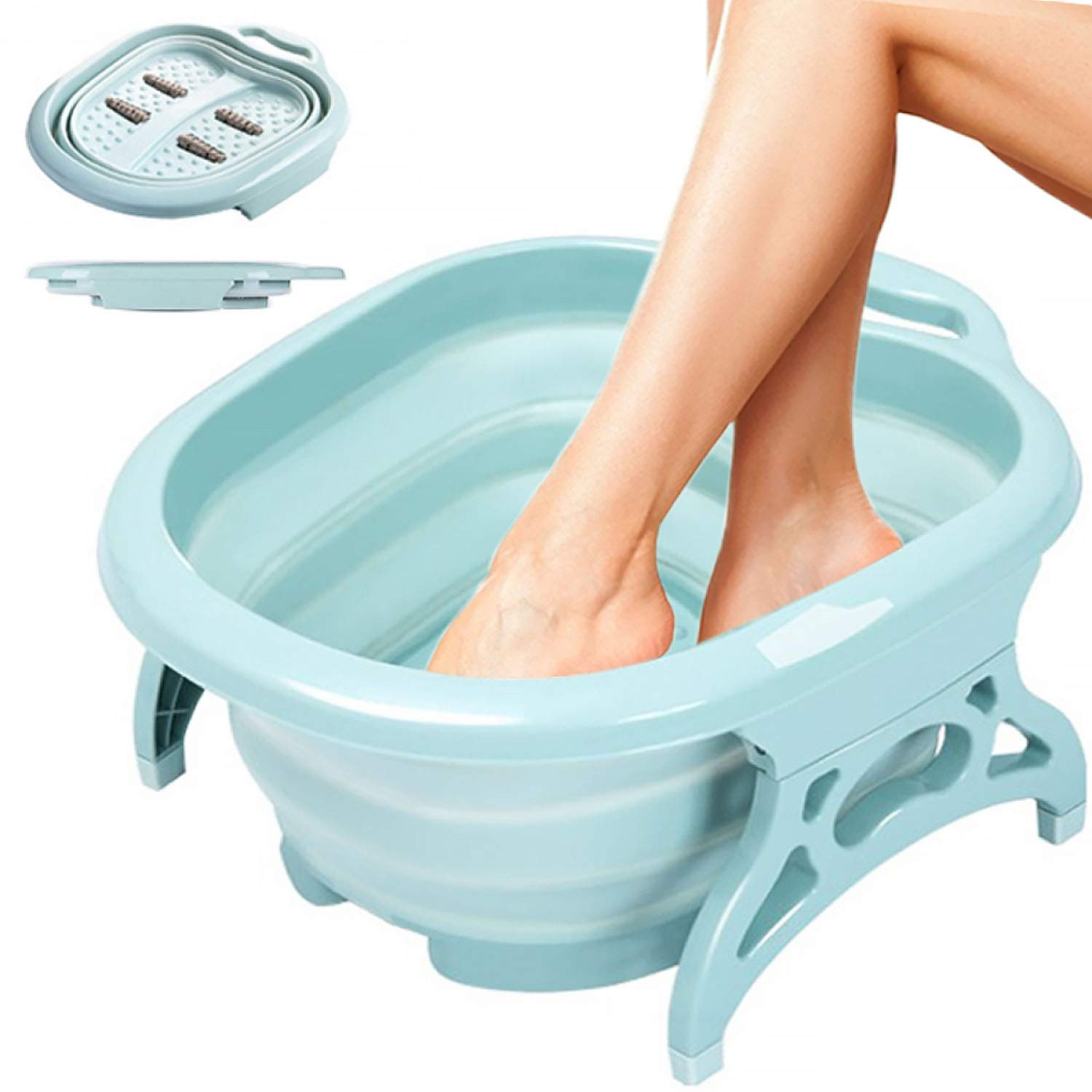 Foot Bath - Collapsible Foot Spa with Foot Massager rollers - Foot Soak Tub for Athletes Foot Treatment, Pedicure Tub Kit. Used with Epsom Salts for Soaking, Tea Tree Oil Foot Soak. Large Wash Basin