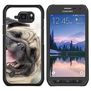 Caucho caso de Shell duro de la cubierta de accesorios de protecci¨®n BY RAYDREAMMM - Samsung Galaxy S6Active Active G890A - Pug Dog Happy Pet canina Sonre¨ªr