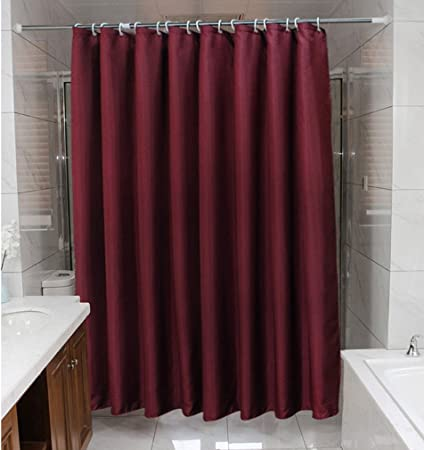Zigzag Park Hotel Style French Fabric Burgundy Shower Curtain Liner 72 Inch Wide By 78