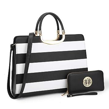 Buy Dasein Designer Purse Stripes Satchel Handbag PU Leather Purse Top  Handle Handbags (XL2828 stripe 2PCs- Black White) Online at Low Prices in  India ... cadd029c41271