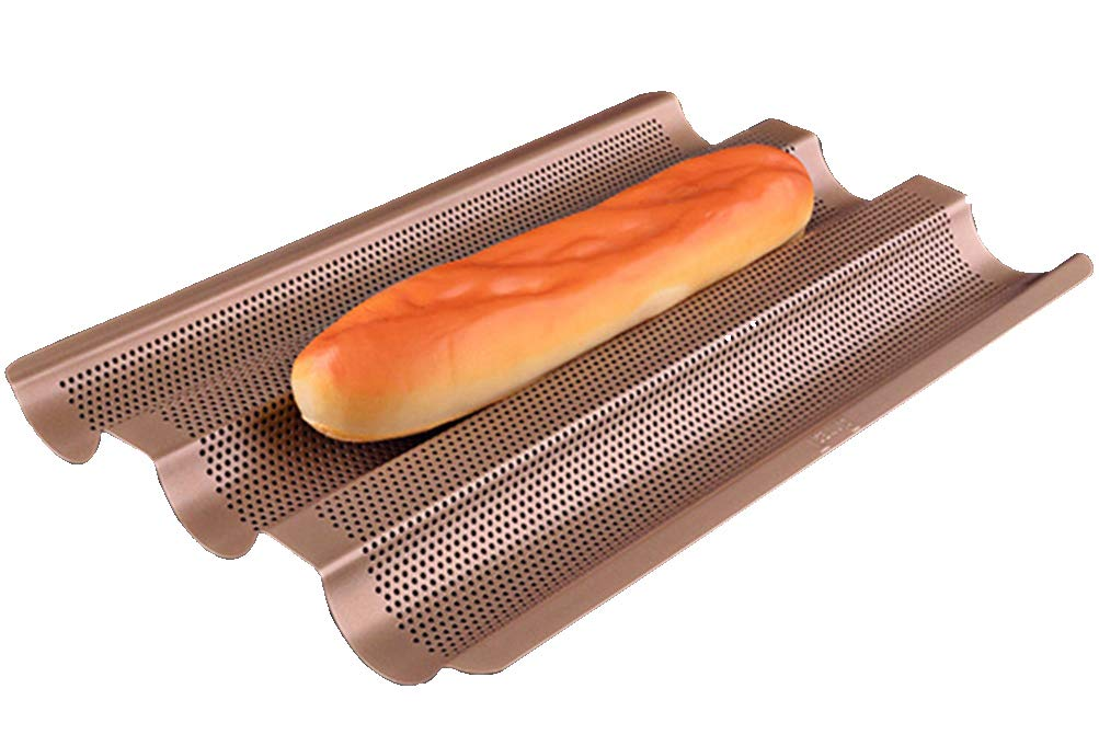 Baguette Perforated Pan,Non-stick Perforated Baguette Pan,3 Moulds Tray,15 x 10 inch