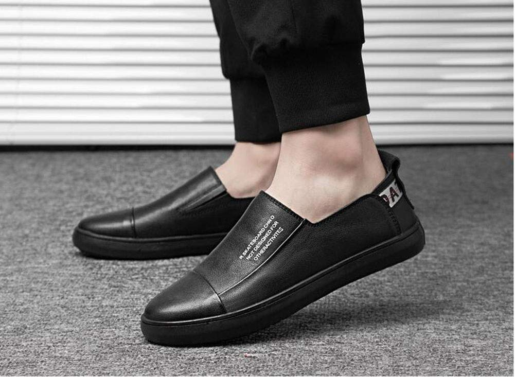 Hy Mens Casual Casual Mens schuhe, Spring New Light Soles Casual Leather schuhe, Tide Flow Personality Low Top Loafers & Slip-Ons, Trekking Camping,schwarz,37 9a4bcc