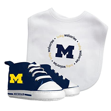 c6c0eb5e20194 Michigan Wolverines Baby Fanatic Bib with Pre-Walkers, NCAA Infant Shoe  Gift Set