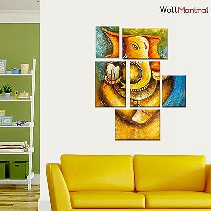 Wallmantra Creative Ganesha Wall Painting 6 Pieces Canvas Print Wall
